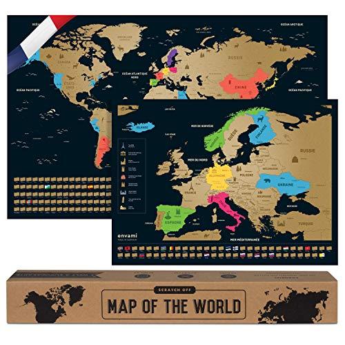 envami Carte du Monde a Gratter I en Français I Plus Carte Européenne I 68 X 43 CM I Dorée I Planisphere Monde I Map Carte Monde I Carte a gratter I Poster Carte du Monde I Scratch Off Travel Map