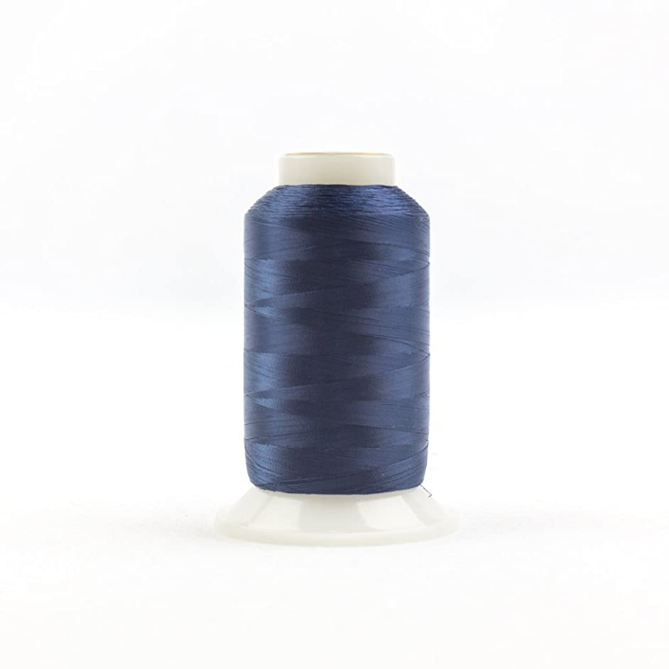 WonderFil, Specialty Threads, InvisaFil, 2-Ply Cottonized Soft Polyester, Silk-Like Thread for Fine Sewing, 100wt - Navy, 2500m