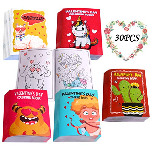30PCS Valentines Coloring Book for Kids-Valentine's Day Goodie Bag Stuffer...