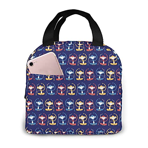 Men & Women Boys & Girls Colorful Cartoon Monkey Cute Animal Lunch Bag for Office School Work, Polyester Insulated Thermal Handbag Lunch Holder, Non-Toxic Lunch Tote Bag Container