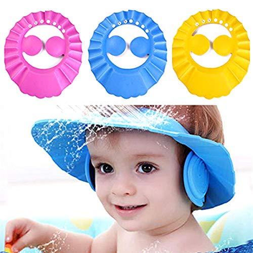 Mignon baby kinderen verstelbare shampoo badmuts waterdicht shampoo Artefact hoed schild 3 pièces (rose bleu jaune)