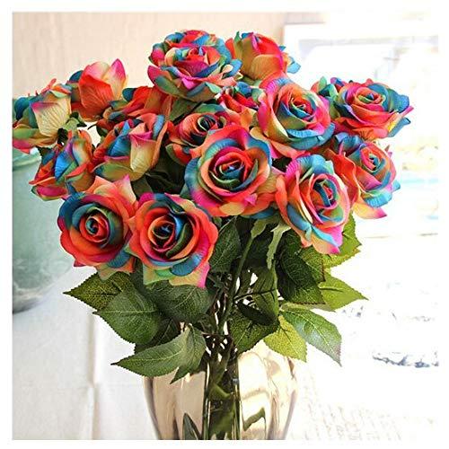 SoulosDonto Artificial Rose Flowers Wedding Bouquet Bridal Decoration Bundles 12pcs Rainbow Color - Sunflower Rings Earrings Silver Craft Clip Garland Sash Invites Dress Photography