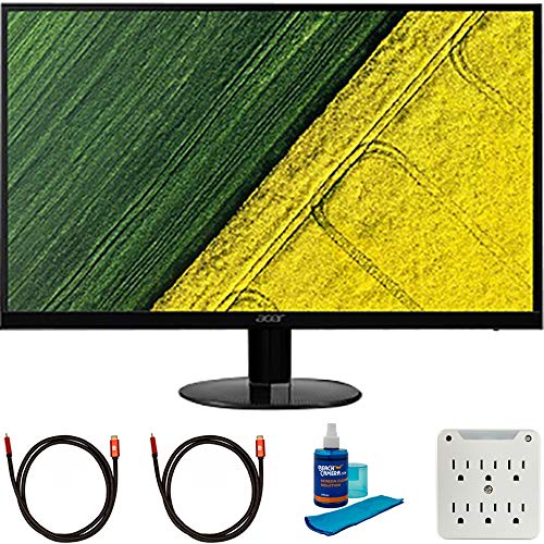 Acer UM.HS0AA.B06 Bbix 27 inch Full HD Ultraslim IPS Monitor with Freesync Bundle with 2X 6FT Universal 4K HDMI 2.0 Cable, Universal Screen Cleaner and 6-Outlet Surge Adapter