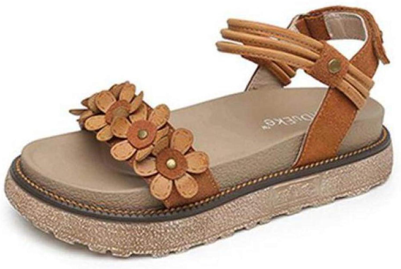 MEIZOKEN Womens Handmade Flowers Platform Sandals Casual Summer Elastic Ankle Strap Wedge Sandals