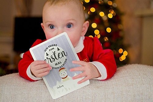 Baby Milestone Cards DEUTSCH – Meilenstein karten – 40 unisex Fotokarten – Geschenkset – Babyparty – Erstes Lebensjahr - 6
