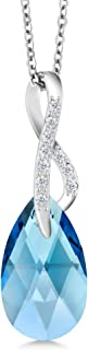 Beautiful Tear Drop Ribbon Pendant on 18inches Chain Made with Swarovski Crystals