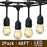 Svater 96Ft Outdoor String Lights, 2Pack 48Ft Patio Lights Plug in with 2W Led Glass Bulb, Dimmable,2700K Warm White, Commercial Grade IP65 Waterproof Hanging String Light,ETL Listed