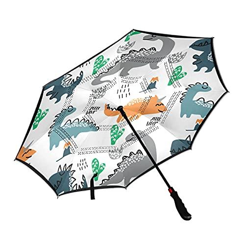 ISAOA - Paraguas de golf con diseño de dinosaurio, diseño de cactus, con manga de transporte