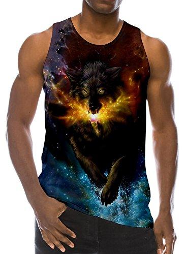 Loveternal Mens Galaxie Wolf Tank Top 3D Digital Westen Sommer Casual Cooles Ärmelloses Tees L