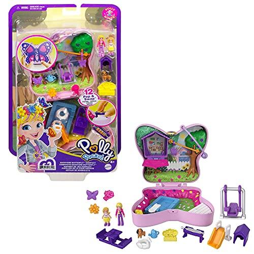 Polly Pocket Coffret Univers Le Jardin Papillon, mini-figurines Polly et sa maman, 5surprises et 13accessoires, jouet pour enfant, GTN21