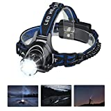 Mifine LED Headlamp 5000 Lumens Waterproof Flashlight, 4 Modes Headlight with 18650 Rechargeable Batteries and Wall Charger for Outdoor Sports Like Running,Camping and Hiking