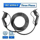 Morec 32A 22KW VE Cable de Carga para Coches eléctricos Trifásico de Carga para Estación del Cargador EV Tipo 2 a Tipo 2, IEC 62196-2 5M