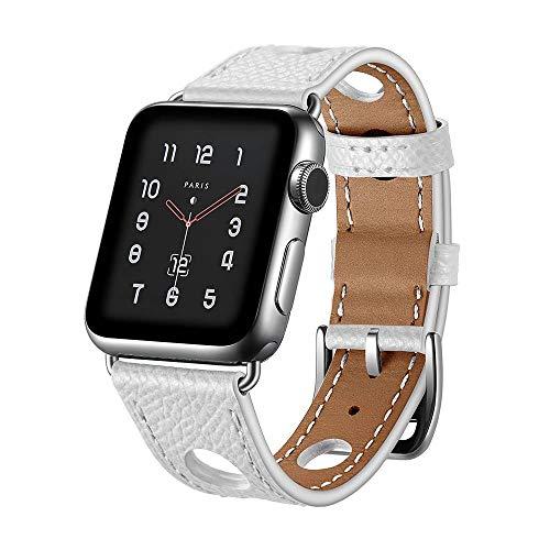 123Watches.nl - Apple watch leren hermes band - wit - 38mm en 40mm