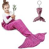 Amyhomie Mermaid Tail Blanket, Little Mermaid Blanket Soft Crochet All Seasons Sleeping Blanket for Kids, Mermaid Gift for Girls(Rose,Kids)
