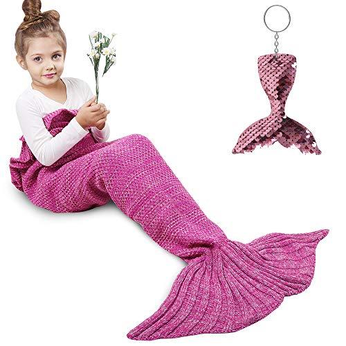 AmyHomie Mermaid Tail Blanket, Mermaid Blanket Adult Mermaid Tail Blanket, Crotchet Kids Mermaid Tail Blanket for Girls (Rose, Kids)