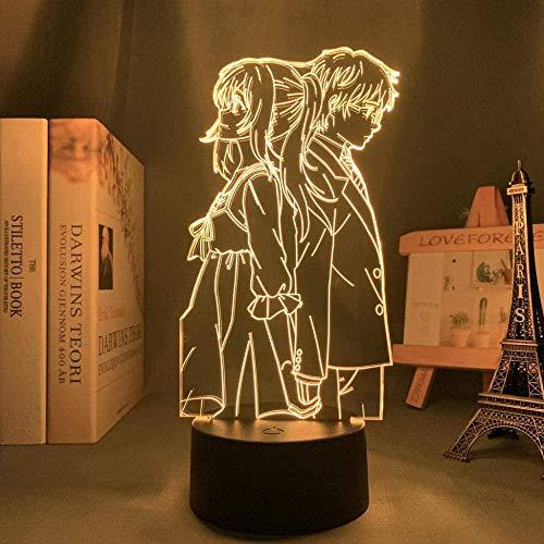Ilustração de luz noturna 3D anime japonês decoração LED anime 3D Anime Your Lie in April para decoração de quarto luz noturna presente de aniversário de crianças mangá quarto mesa lâmpada 3D Your Lie em abril QLWLKJ HOICHAN