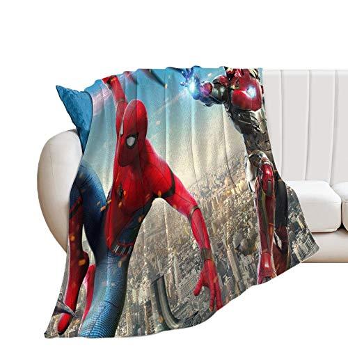 Manta de felpa súper suave y cálida para sofá cama, superhéroe, hombre araña y hombre de hierro luchando elegante manta para capas de cualquier cama o sofá 180 x 200 cm