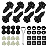 Black License Plate Screws Fastener Kit, Stainless Steel Screws, Black License Plate Screw Covers and Anti-Rattle Foam Pads for Fastening License Plates, Frames and Covers