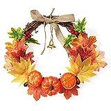 Corona de otoño para puerta de entrada, guirnalda de otoño con calabaza, elegante corona de arce realista, para Halloween, Acción de Gracias, decoración