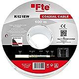 FTE Cable antena TV SAT coaxial PVC 5 mm Clase A blanco madeja 100 m K121ew