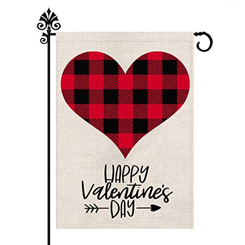 Valentine Buffalo Check Plaid Love Heart Garden Flag Vertical Outdoor Decorations Double Sided- Happy Valentine's Day Gift Yard Decor Home Decorative 12.5 x 18 Inch LOVE214-1
