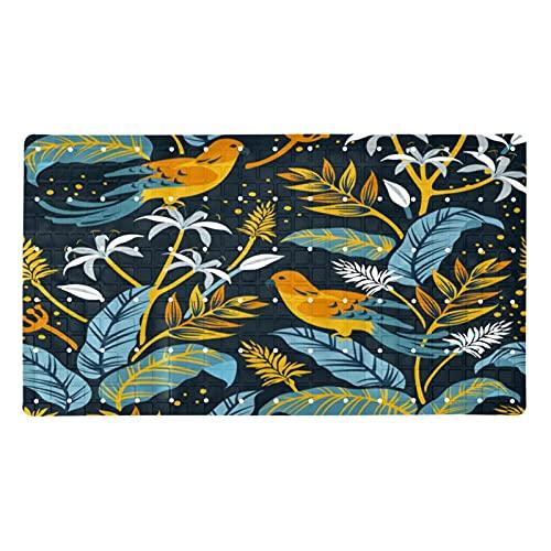 Alfombrilla de baño de pájaros y hojas de colores (15,7 x 28 pulgadas)