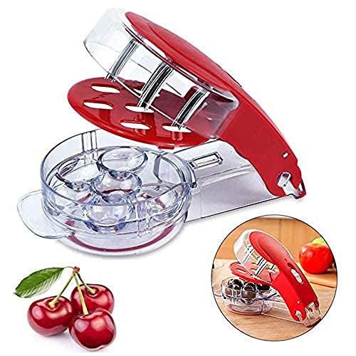 Cherry Pitter- Stainless Steel Multiple Cherry Seed Extractor Remover, Machine with Pits and Juice Container 6 Cherries, Red