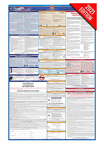 NV Labor Law Poster, 2021 Edition - State, Federal and OSHA Compliant Laminated Poster (Nevada, English)