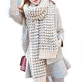 Pixnor Señora larga Mohair lana suave cálida bufanda moda abrigo chal cuadros (Beige)