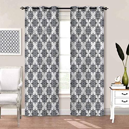 Rod Pocket Window Curtains Geometric, Retro Lines Swirls Patio Sliding Door Curtain Perfect for Your Living Room W84 x L84 Inch
