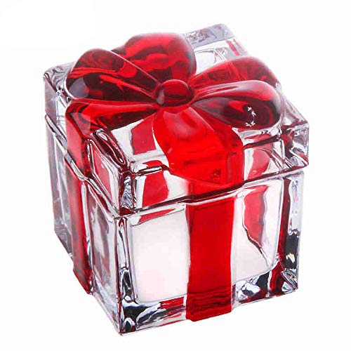 Vencer Square Sugar Bowl Crystal Glass With Bowknot Lid, Storage Box Wedding Candy Cookies Seasoning Food Tea and Food Storage Tank, Thanksgiving Day Gift
