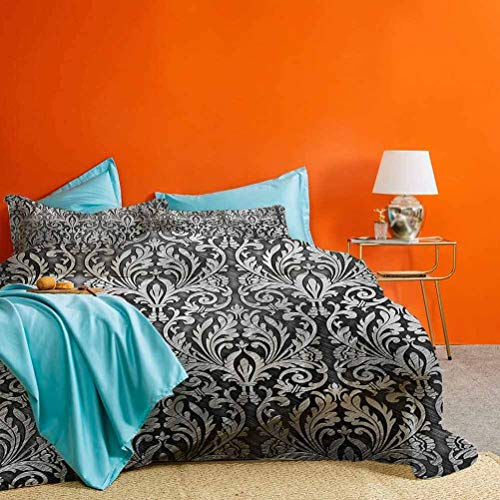 Silver Bedding Collection Graphic with Classic Floral Ornaments Medieval Empire Royal Engraving Style Print Best Hotel Luxury Bedding Grey Black 3pcs (1 Duvet Cover and 2 Pillow Shams) Cal King Size