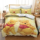 3D Winnie Pooh Printed Duvet Cover Cartoon Anime Bedding Sets for Kids,Soft Microfibre Winter Warm Quilt Set for Boys Girls (O,Single 135X200cm)