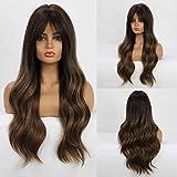 HAIRCUBE Pelucas marrones Ombre Peluca con flequillo Peluca larga ondulada Pelucas de pelo con flequillo NINGUNO Encaje Pelucas sintéticas de 26 pulgadas para mujeres