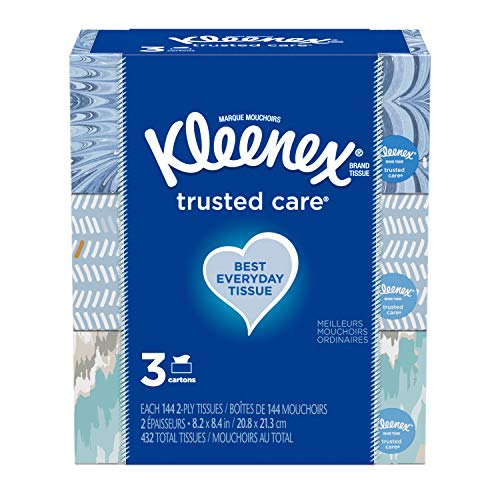 "Kleenex Trusted Care Facial Tissue, 8.20"" x 8.40"", White 3 Count"