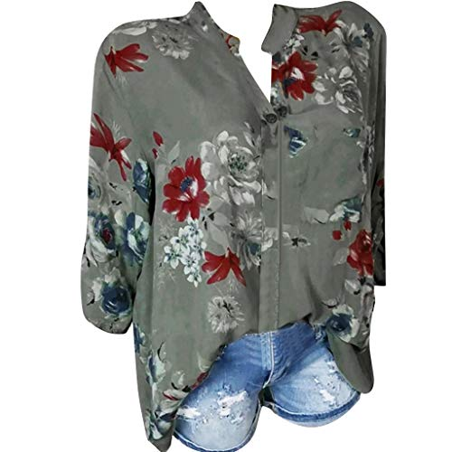 ZuzongYr - Camisetas para mujer, con bolsillo trasero, talla grande, manga larga, botones Verde militar. M