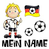 Bügelmotiv Set Fussball, personalisiert, Fussballer, Fussball, Deutschland, Flagge, Dein Name, Bügelbild, Transferbild