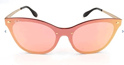 RAY-BAN Women's RB3580N Cat Eye Steel Sunglasses, Brushed Gold/Pink Mirror, 58 mm