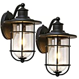 Outdoor Wall Light Fixture with Dusk to Dawn Photocell, Anti-Rust Waterproof Wall Lamp, Matte Black Wall Sconce with Seeded Glass Shade for Entryway, Porch, Front Door, ETL Listed, 2 Pack
