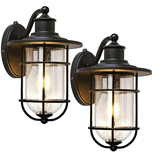 Outdoor Wall Light Fixture with Dusk to Dawn Sensor, Anti-Rust Waterproof Wall Lantern, Matte Black Wall Sconce with Seeded Glass Shade for Entryway, Porch, Front Door, ETL Listed, 2 Pack