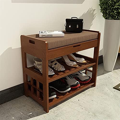 Entrada de Banco de Zapatos de bambú con Almacenamiento y cojín, sobre la Puerta Organizador de Zapatos marrón con cajón para Dormitorio de Pasillo (tamaño : L 52cm)