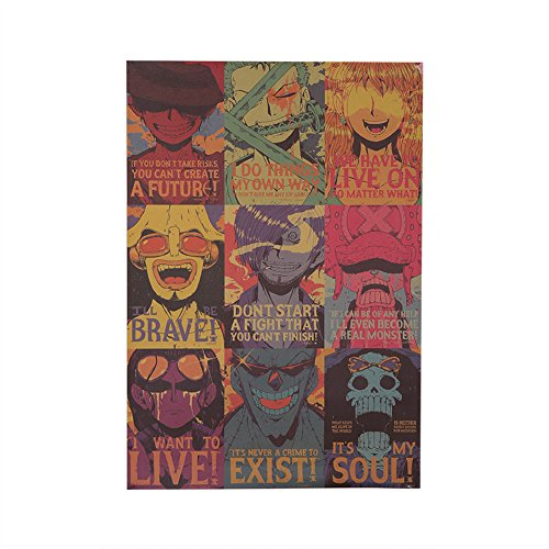 Skisneostype One Piece Carteles Set Luffy Choba Retro Advanced Copper Plated Paper Poster, Nueva Edición(H03)