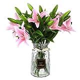 ANSUG Flores de Lirio Artificiales con 3 capullos, 8 Piezas de Ramo de Flores Falsas con Apariencia Natural Flores de látex de Tacto Real para decoración del hogar, arreglos de Boda(Rosa)