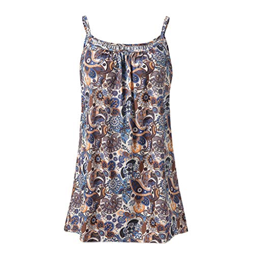 Andouy Damen - Camis Top Print - Ärmellose Weste Tank Plus Size Gr.36-52 Übergroße Laides Daily Beach Straps-Bluse(M(38),Kaffee-Eule)