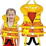 IvyH Chaleco de Natación Niño, Chaleco Flotante Bebe Chaleco Flotación Impresión Deportes Acuáticos de Verano Chaleco de Entrenamiento para Niños Niñas(Amarillo XS)