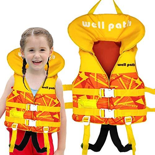IvyH Chaleco de Natación Niño, Chaleco Flotante Bebe Chaleco Flotación Impresión Deportes Acuáticos de Verano Chaleco de Entrenamiento para Niños Niñas(Amarillo S/M)