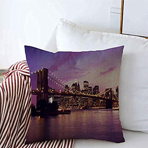 Kissenbezüge Brücke USA Berühmte Brooklyn Manhattan District United Sonnenuntergang New York Gate Twilight NYC Kissen Kissenbezüge anzeigen