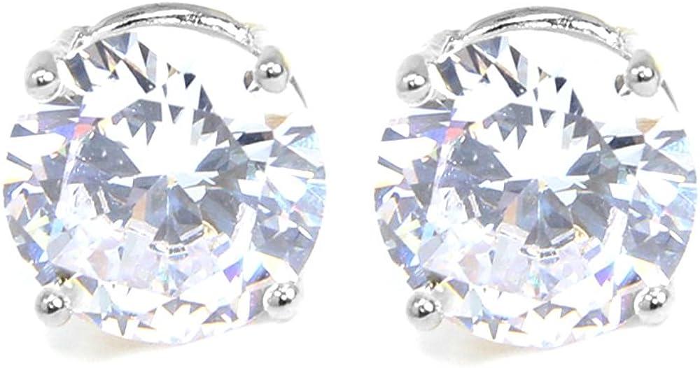 35% OFF Me Plus Stainless Steel Round Cut Cubic Ranking TOP10 Stud Earrings Zirconia W