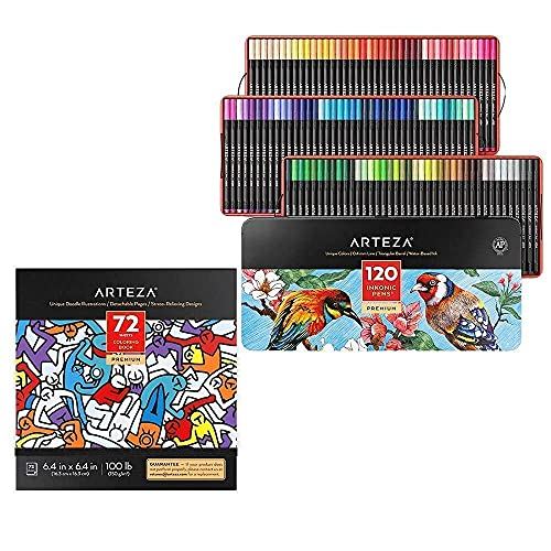 Arteza Fineliner Pens and Coloring Book Bundle, Drawing Art Supplies for Artist, Hobby Painters & Beginners