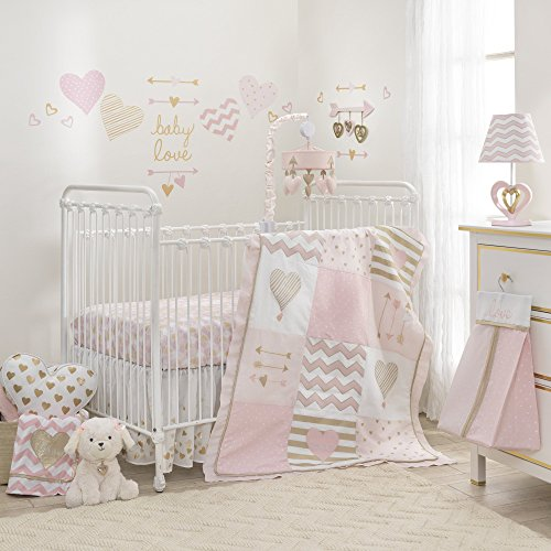 Lambs & Ivy Baby Love Pink/Gold Girl Heart 4 Piece Crib Bedding Set